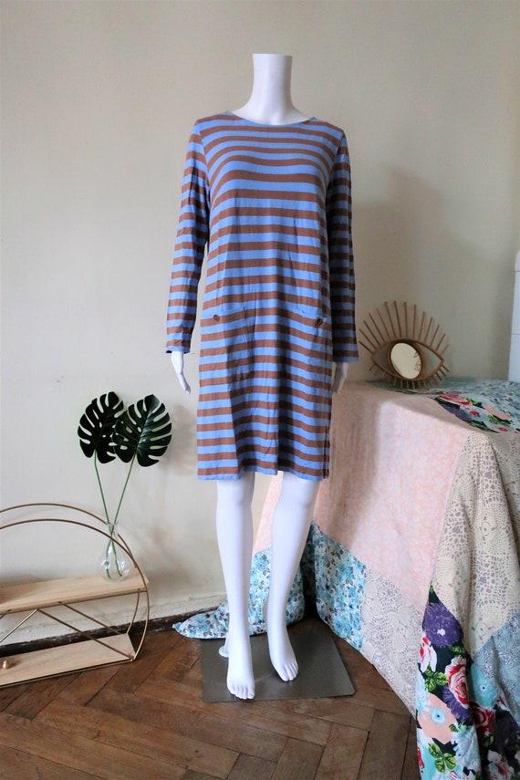 Vintage Marimekko blue and brown nautical stripe m