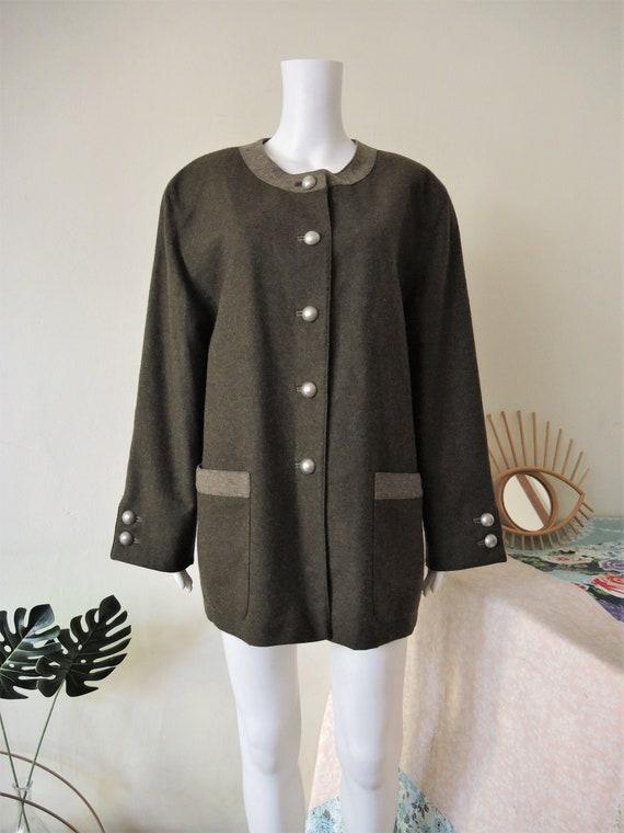 Vintage olive green Austrian alpine country folklore trachten wool jacket 1990s 90s
