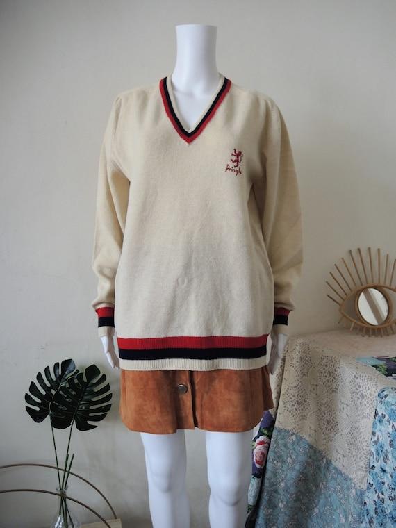 Vintage Pringle cricket wool jumper sweater colleg