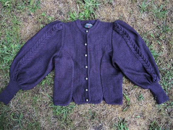 Vintage purple Astrifa Bavarian trachten wool knit