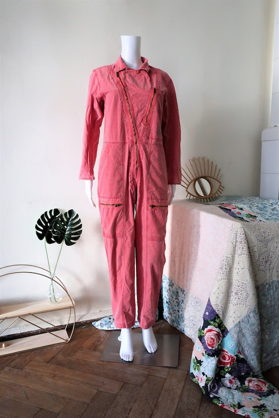 Vintage raspberry boilersuit jumpsuit with militar