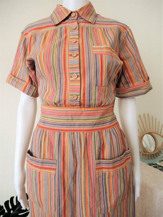 Vintage German Lucie Linden multicolor striped sh… - image 4