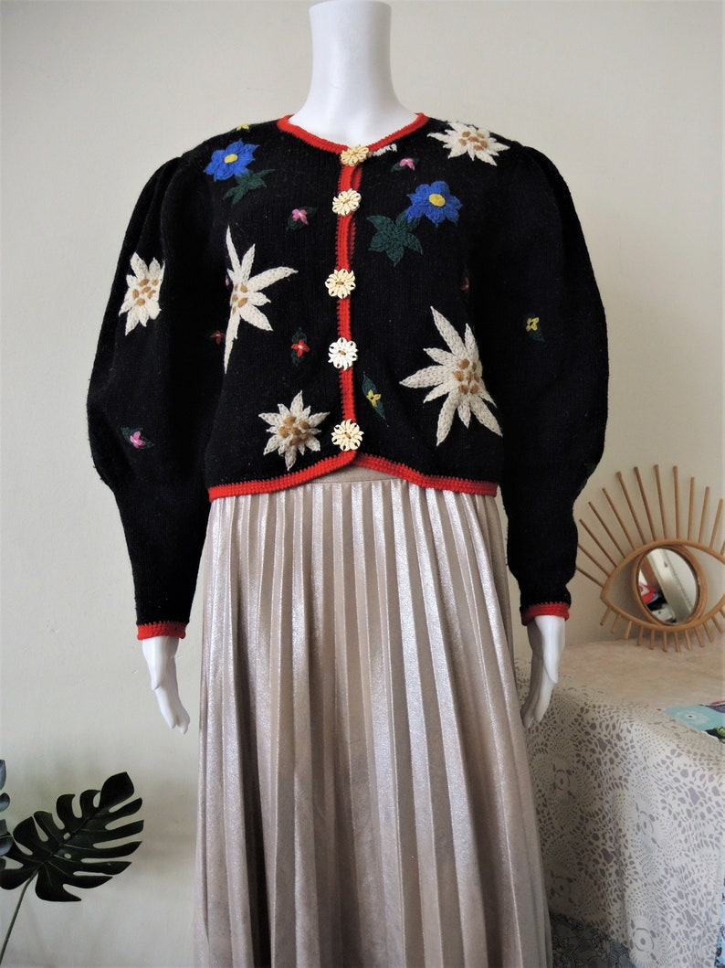 Vintage Ortrud Rainer handmade Austrian trachten wool knit cardigan Edelweiss Gentian floral embroidery leg of mutton puff sleeves 1990s 90s