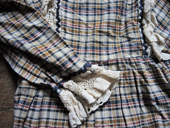 Vintage checked prairie maxi dress with leg of mu… - image 7