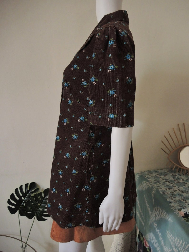 SALE** Vintage brown floral corduroy blouse with large collar puff sleeves empire waist 1970s 70s **SALE