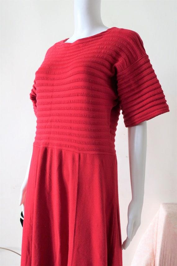 Vintage red Marimekko cotton stretch midi maxi mid