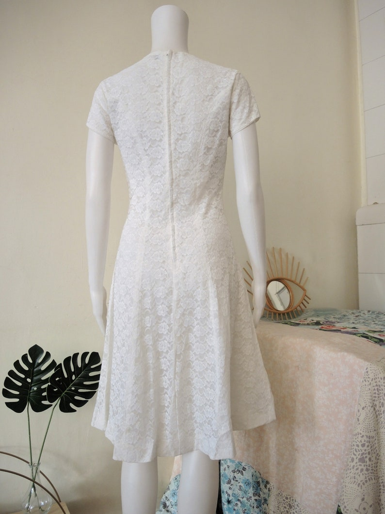 Vintage white skater dress with floral lace and ribbon cap sleeves 1960s 60s 1970s 70s