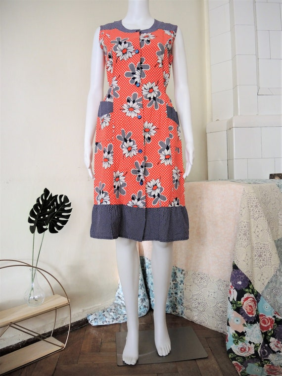 Vintage patchwork floral and polka dot cotton pina