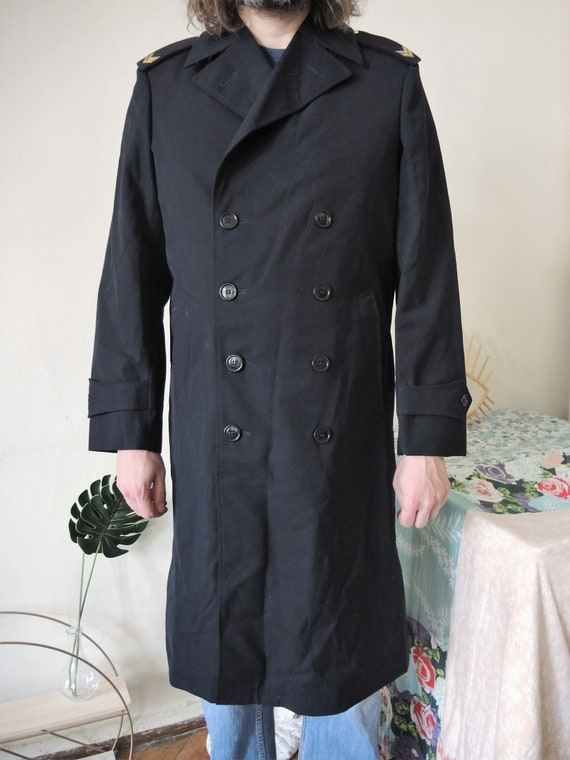 Armée hollandaise double boutonnage boutonnage double Vintage hiver uniforme militaire trench manteau des années 1980 38405e