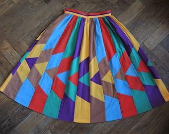 Vintage Bogner patchwork cotton midi high waist skirt 1980s 80s made in Western Germany