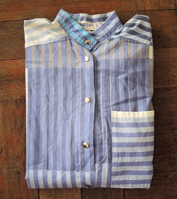 Marimekko Finland patchwork stripe nautical blouse
