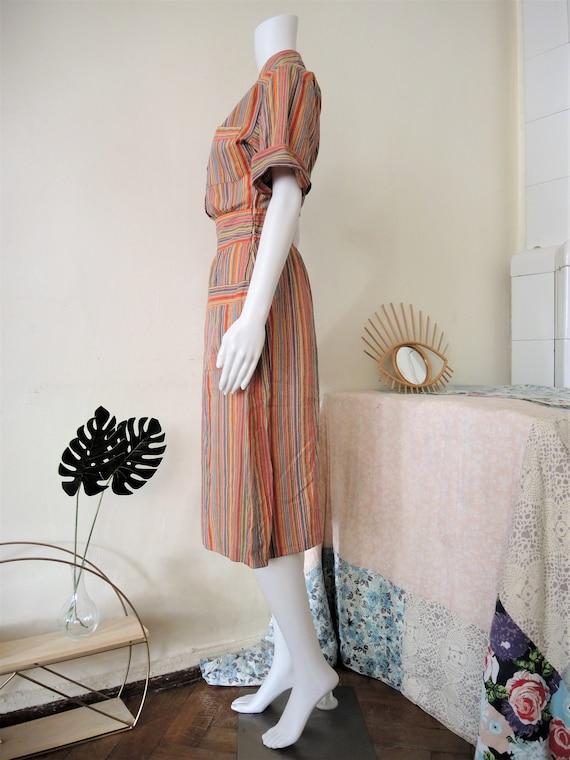 Vintage German Lucie Linden multicolor striped sh… - image 7