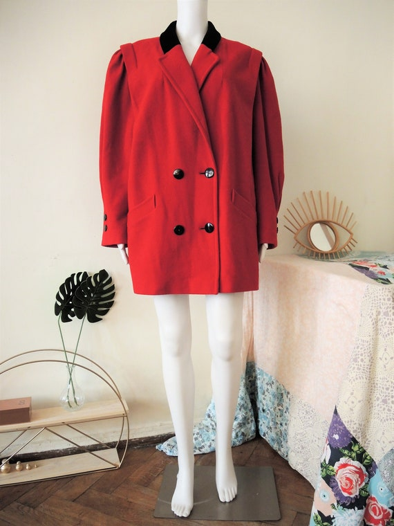 Vintage double-breasted red short coat jacket with