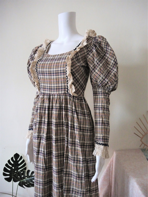 Vintage checked prairie maxi dress with leg of mut