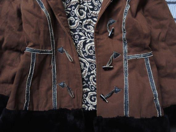 Kenzo Vintage 80 s 90 s folk inspiré blouson duffle coat avec col en fausse fourrure et poignets
