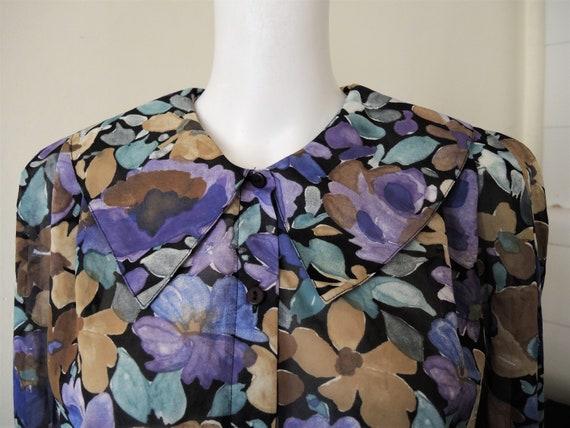 Vintage dark floral chiffon blouse with statement