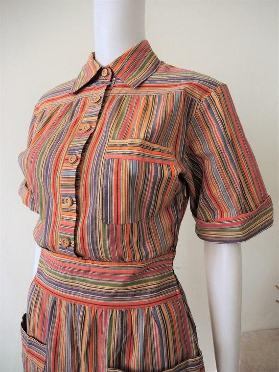 Vintage German Lucie Linden multicolor striped sh… - image 2
