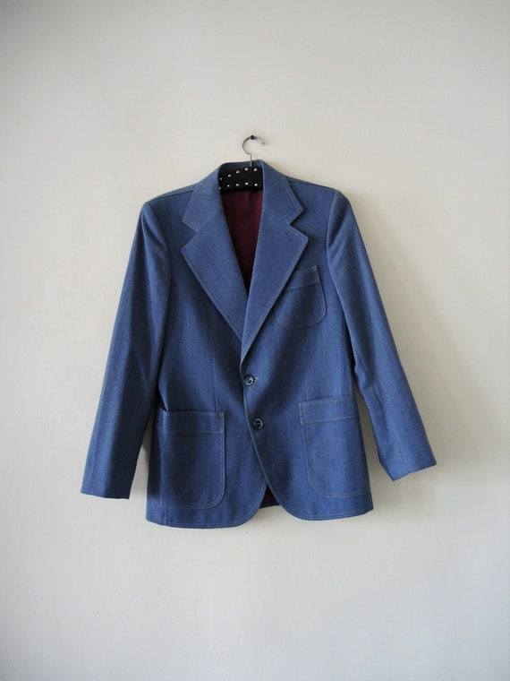 Vintage blue denim suit jacket blazer 1970s 70s