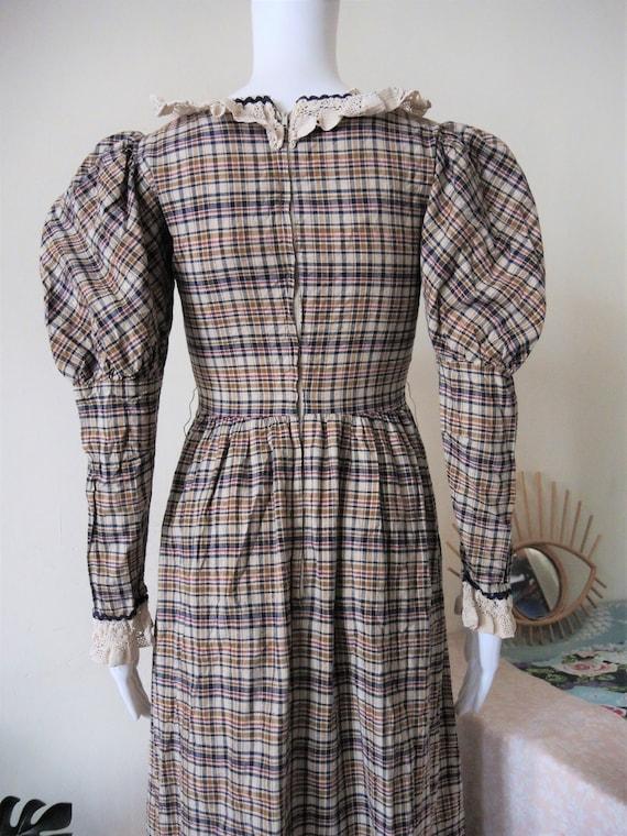 Vintage checked prairie maxi dress with leg of mu… - image 3