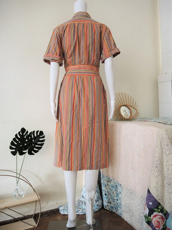 Vintage German Lucie Linden multicolor striped sh… - image 9