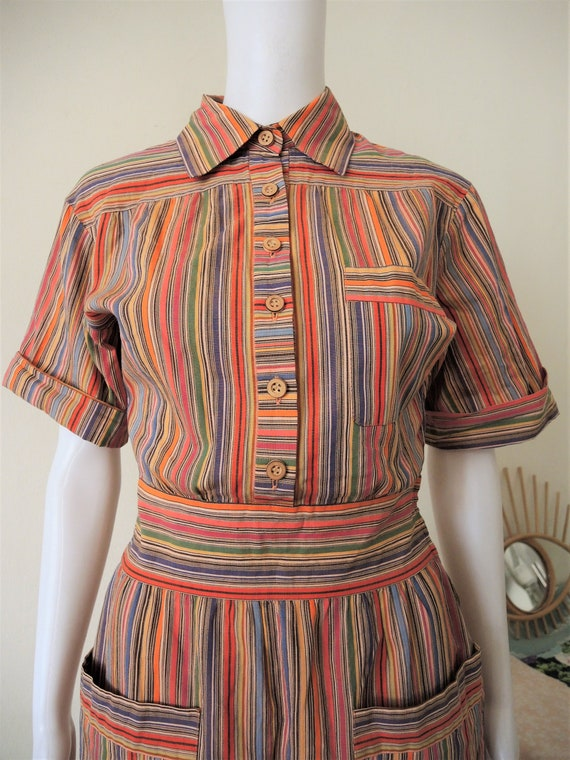 Vintage German Lucie Linden multicolor striped sh… - image 5