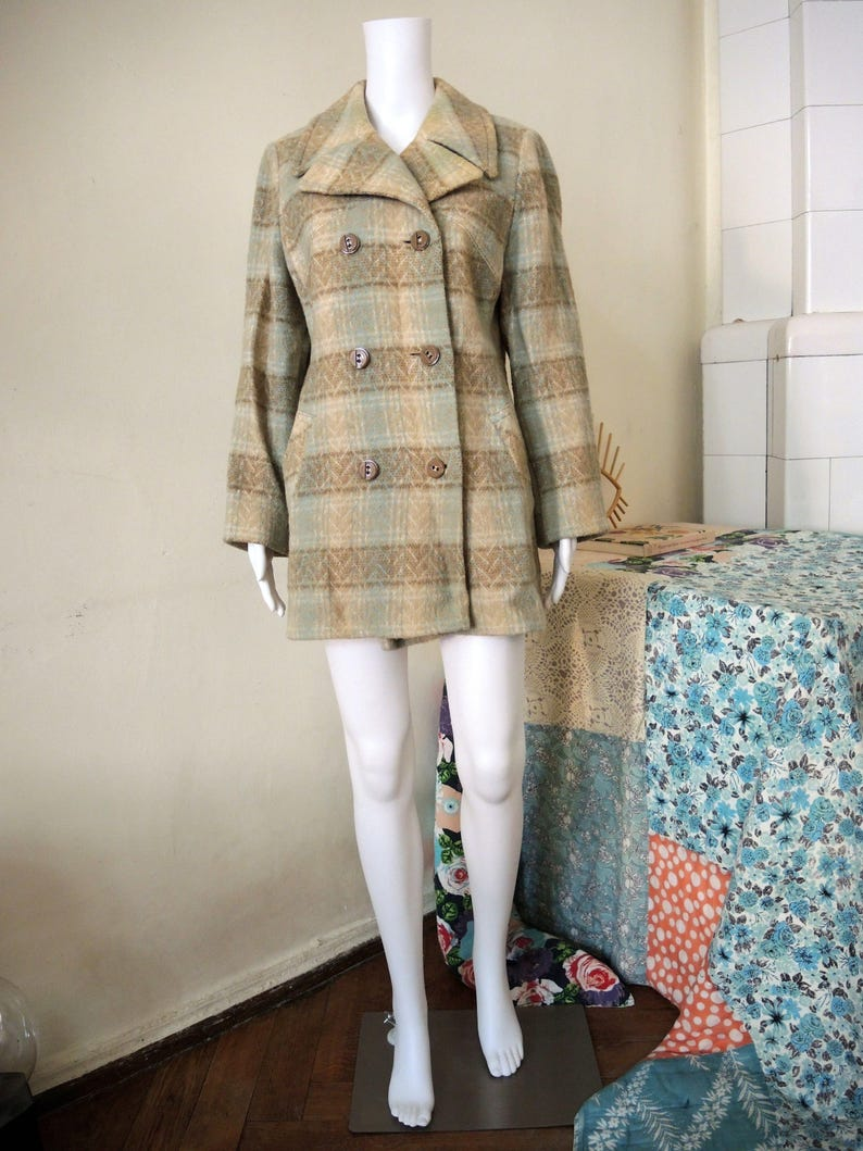 SALE** Vintage double breasted caban coat winter jacket pastell folk pattern 70s 80s **SALE