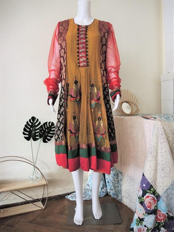 kid/'s art embroidery indian skirt Pink vintage 80s skirt elastic waist midi length cotton fabric A-line design