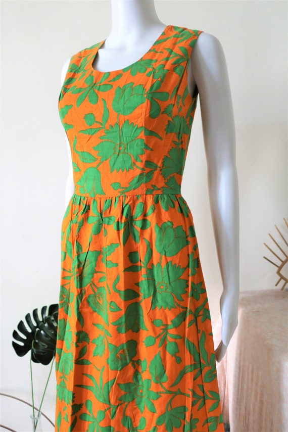 Vintage orange and green floral print cotton maxi