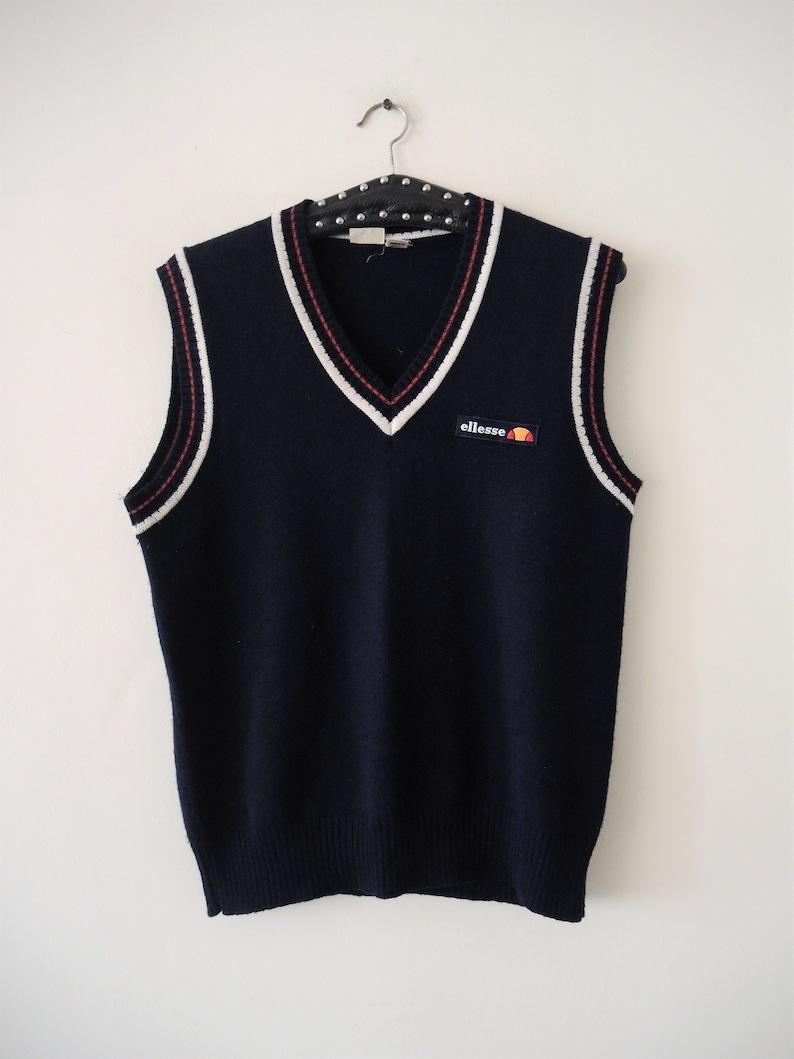 Vintage Ellesse knit tennis vest with stripe details 1980s 80s made in Italy