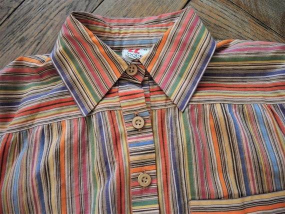 Vintage German Lucie Linden multicolor striped sh… - image 10