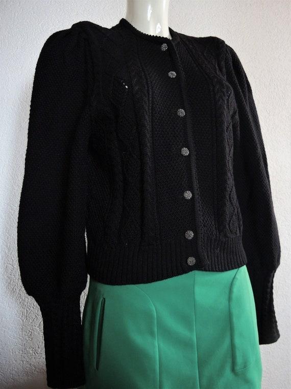 Vintage black Austrian trachten wool knit cardigan