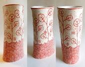 Sgraffito Ceramic Abstract Vase White-Red-Orange Handmade Pottery