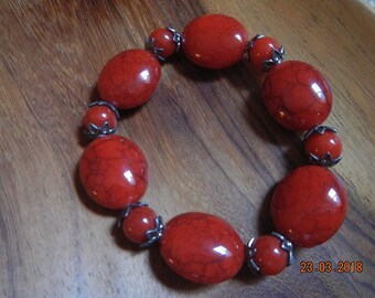 Deep Red Beaded/Dark Silver-tone Stretchy Bracelet