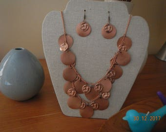 Copper-tone Layered Necklace/Earrings