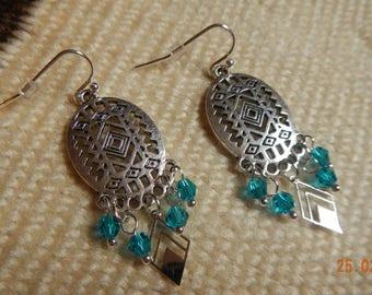 Silver-tone Native American-inspired Swarovski Crystal Chandelier Earrings