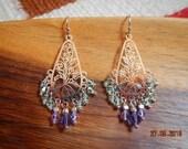 Reflective Silver-tone Floral Cut-Out Purple Green Swarovski Crystal Chandelier Earrings