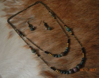 Old-gold Tone 2-Strand Indian Agate and Freshwater Pearl Necklace/Earrings