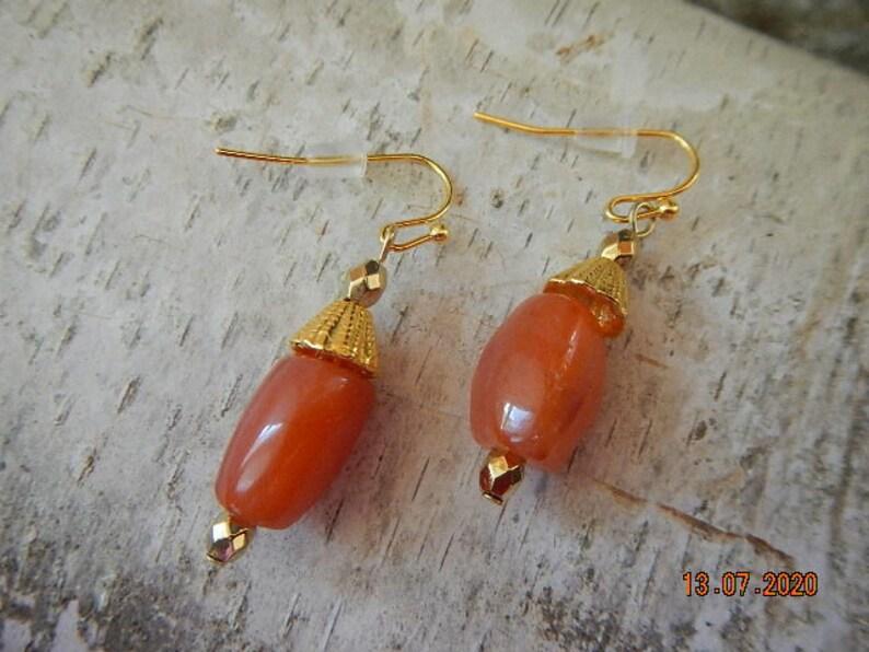Tumble Polished Carnelian Nugget Gold-tone NecklaceEarring Set