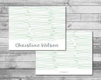 Personalized 'Squiggle Lines' Theme - A2 Folded Stationery (5.5 x 4.25 inches)