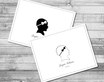 Personalized B/W 'Small Silhouette' Theme - A2 Folded Stationery (5.5 x 4.25 inches)