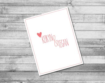 Personalized Folded 'Love from Twins with a Heart' theme - A2 Folded Stationery (5.5x4.25 inches)