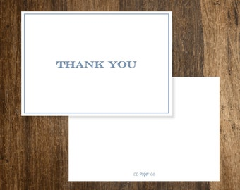Folded Thank You (A2) - Simple Blue Bold Caps and Border