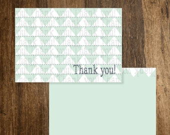 Folded Thank You (A2) - Mint/White Triangles, Gray Print