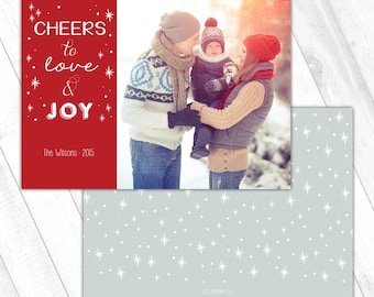 Holiday Photo Card (5x7) - Cheers to Love and Joy - Red Sparkle