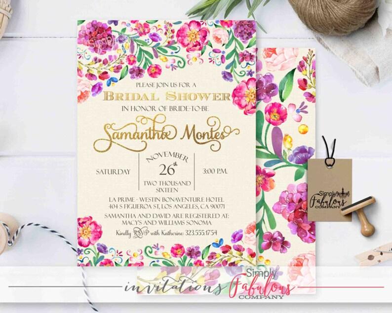 3c0e67887acb Fiesta Florals Sangria Watercolor Floral Bridal Shower