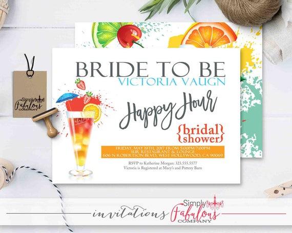 Happy Hour Bridal Shower Invitation Cocktails