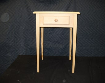 unfinished single or set Pine End Table Beveled Edge Style Tapered or Straight Block Leg