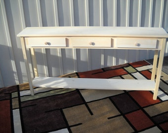 """Unfinished 60"""" Sofa, Console, Shaker Style Edge PineTable w/Shelf and 3 drawers"""