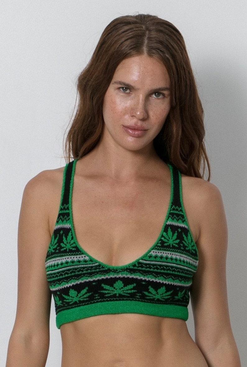b649b903a56 Cannabis Knit Bralette Womens Christmas Sweater Bra Sexy