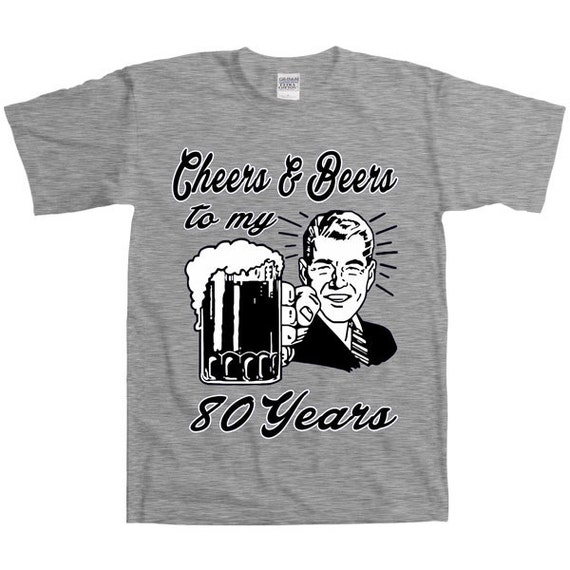 Retro Guy 80th Birthday Shirt Gift For Eighty Year Old Cheers